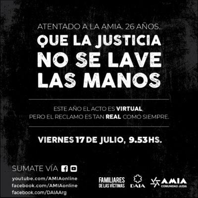 Acto virtual, a 26 años del atentado contra la DAIA – AMIA
