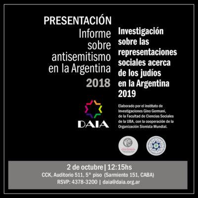 La DAIA presentará su Informe Anual sobre Antisemitismo en la Argentina