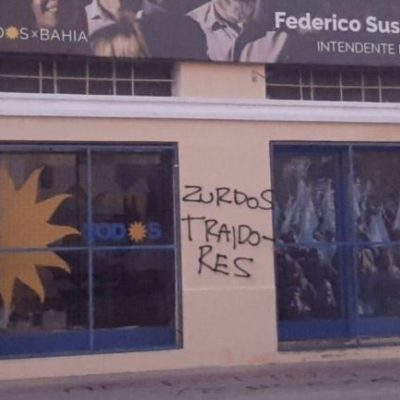La DAIA Filial Bahía Blanca condenó las pintadas antisemitas en un local del Frente de Todos
